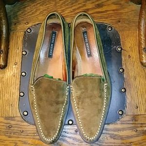 Sesto Meucci Olive Green Suede Loafers